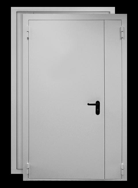 Противопожарная распашная дверь EI60 RAL 7035, снаружи
