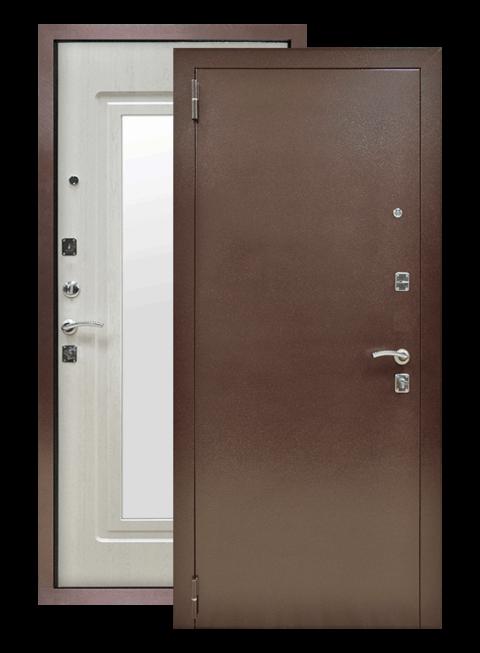 Дверь Патриот Зеркало лиственница беленая, снаружи