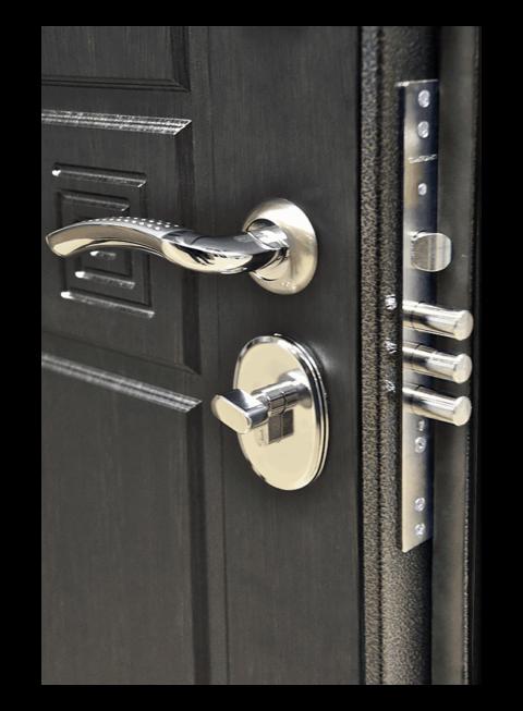Дверь Троя 3К венге, цилиндровый замок и ручка