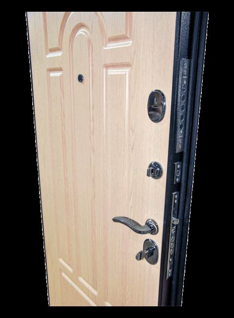 Дверь Эврика венге белёный дуб, замки и внутренняя МДФ-панель