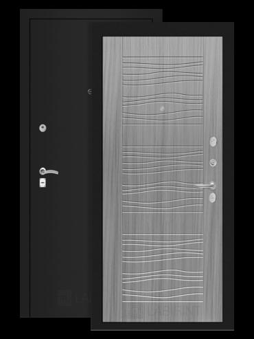 дверь Классик 06 шагрень черная/сандал серый