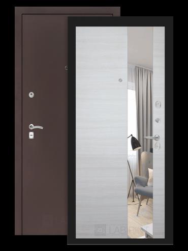 дверь Классик медный антик/акация светлая горизонтальная с зеркалом