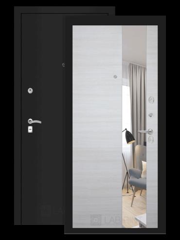 дверь Классик шагрень чёрная/акация светлая горизонтальная с зеркалом