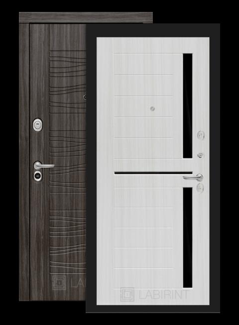 дверь Сканди 02 сандал белый стекло чёрное