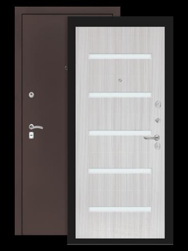 Дверь Классик 01 антик медный сандал белый стекло белое