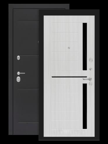 Дверь Лофт 02 сандал белый стекло чёрное внутри