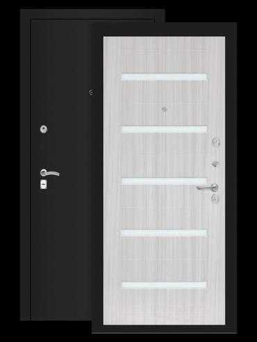 дверь классик 01 шагрень чёрная cандал белый стекло белое