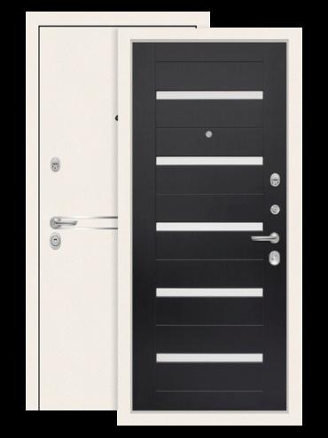 Дверь входная Лайн вайт 01 венге, стекло белое (внутри)