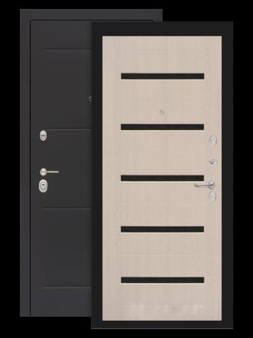 дверь лофт 01 белёный дуб стекло чёрное