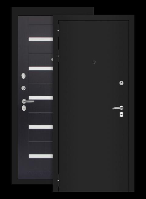 Входная дверь Лабиринт Классик 01 шагрень чёрная венге стекло белое