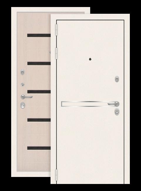 Дверь входная Лайн вайт 01 белёный дуб, стекло чёрное (снаружи)