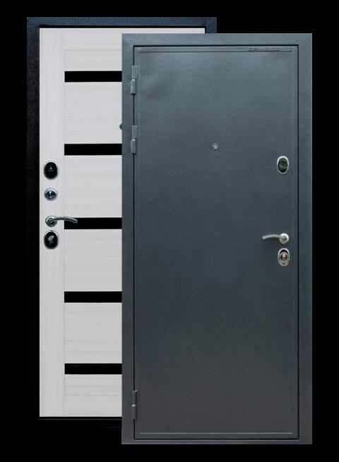 Дверь входная Престиж сандал белый с чёрным стеклом