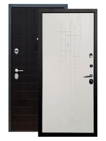 Дверь входная Тетрис чёрный ясень роял вуд белый