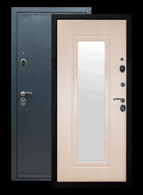 Дверь входная Престиж белёный дуб с зеркалом
