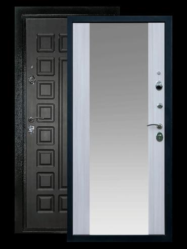 Дверь входная Триумф сандал белый с зеркалом