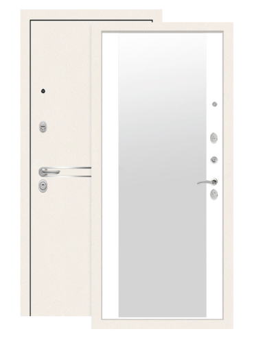 Дверь входная Лайн вайт белый софт с зеркалом, внутри