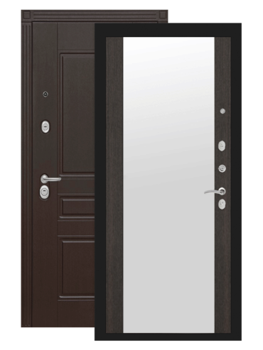 Дверь входная Мегаполис венге с зеркалом внутри