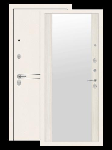 Дверь входная Лайн вайт сандал белый с зеркалом, внутри