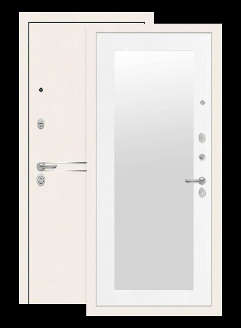 Дверь входная Лайн вайт с зеркалом 18 белое дерево, внутри