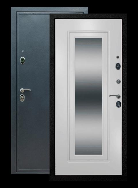 Дверь входная Престиж ФЛЗ-120 Ясень белый с зеркалом, внутри
