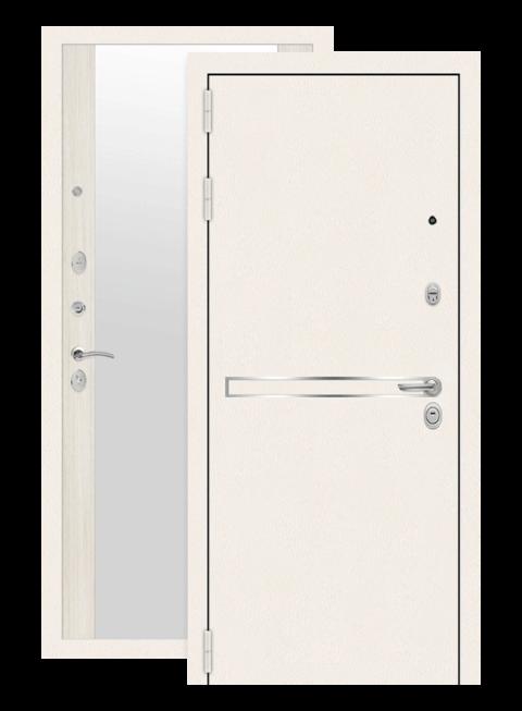 Дверь входная Лайн вайт сандал белый с зеркалом, снаружи