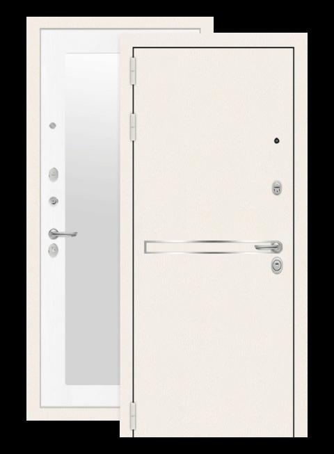 Дверь входная Лайн вайт с зеркалом 18 белое дерево, снаружи