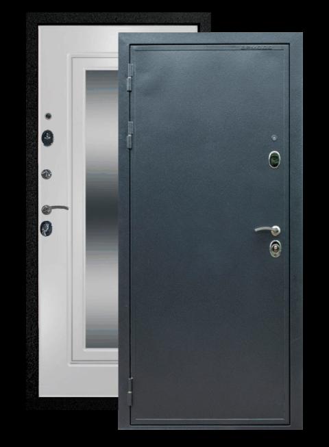 Дверь входная Престиж ФЛЗ-120 Ясень белый с зеркалом, снаружи