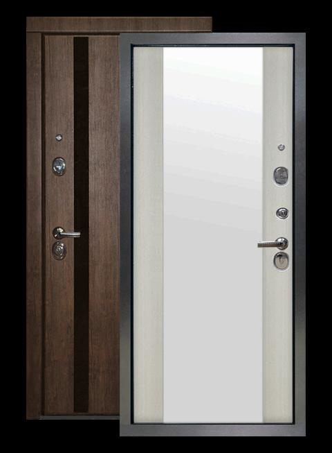 Дверь входная Премьер 2К тиковое дерево/белая лиственница зеркало, внутри