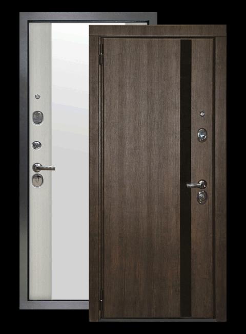 Дверь входная Премьер 2К тиковое дерево/белая лиственница зеркало, снаружи