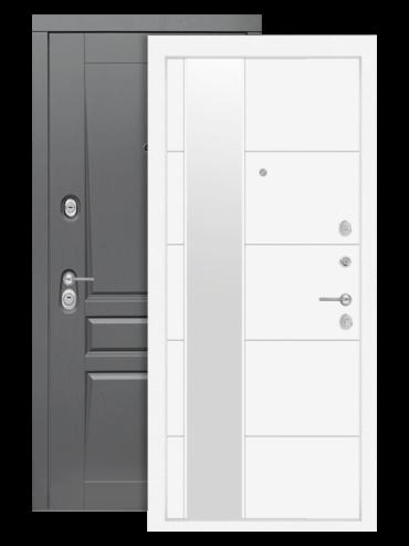 Дверь входная Платинум 19 белый софт с зеркалом, внутри
