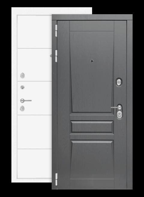 Дверь входная Платинум 19 белый софт с зеркалом, снаружи