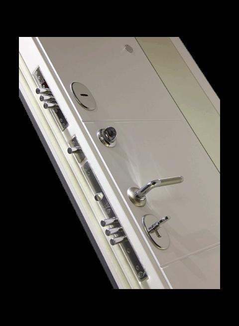 Дверь входная Платинум 19 белый софт с зеркалом, внутренняя панель