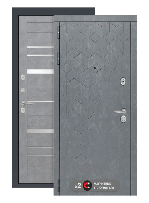 Входная дверь Бетон 20 бетон светлый, зеркальные вставки, снаружи