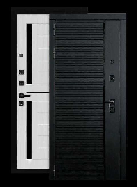Входная дверь Piano 02 cандал белый, стекло черное (снаружи)
