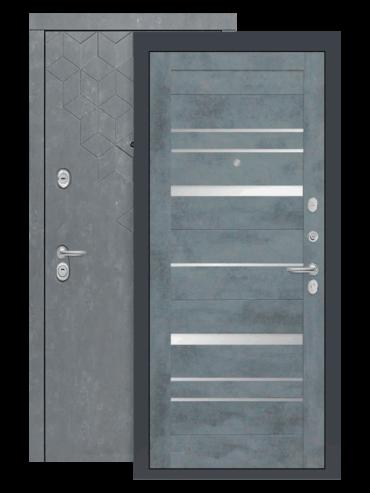 Входная дверь Бетон 20 бетон тёмный, зеркальные вставки, внутри