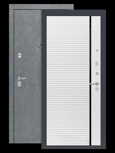 Входная дверь Бетон 22 белый софт, черные вставки, внутри