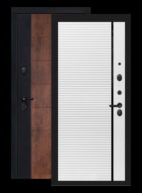Входная дверь Техно 22 белый софт, черная вставка, внутри