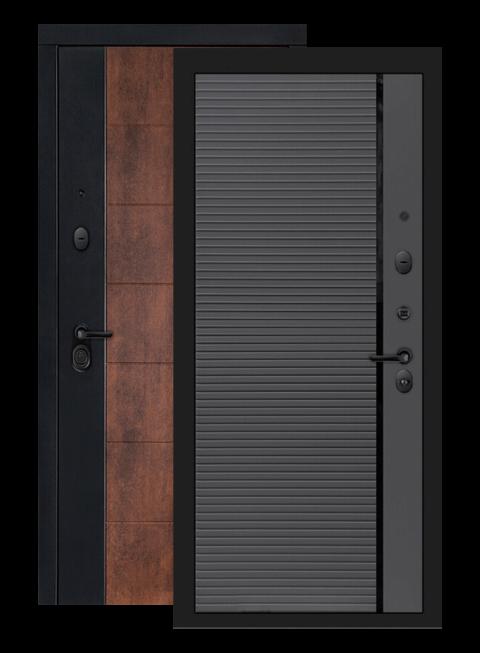 Входная дверь Техно 22 графит софт, черная вставка, внутри
