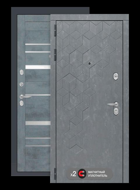 Входная дверь Бетон 20 бетон тёмный, зеркальные вставки, снаружи