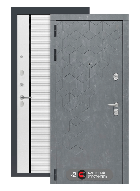 Входная дверь Бетон 22 белый софт, черные вставки, снаружи