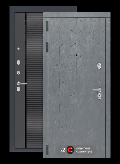 Входная дверь Бетон 22 графит софт, черные вставки, снаружи