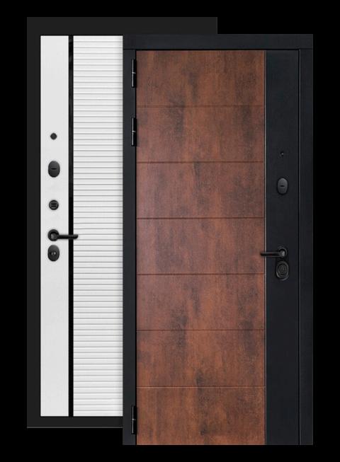 Входная дверь Техно 22 белый софт, черная вставка, снаружи