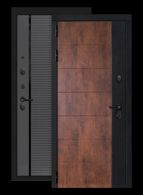 Входная дверь Техно 22 графит софт, черная вставка, снаружи